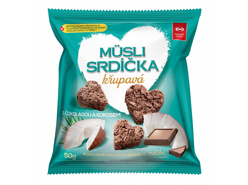 Semix Musli srdíčka křupavá s čokoládou a kokosem 50g