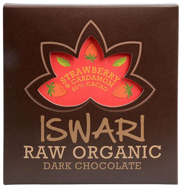 Iswari Raw čokoláda - Strawberry & Cardamom 80 % BIO 75 g