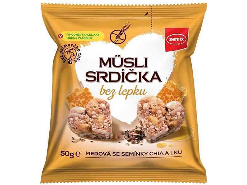 Zobrazit detail výrobku Semix Musli srdíčka bez lepku medová se semínky chia a lnu 50g