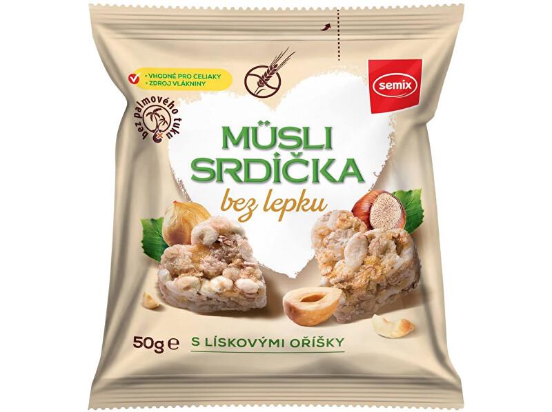 Zobrazit detail výrobku Semix Musli srdíčka bez lepku s lískovými oříšky 50g