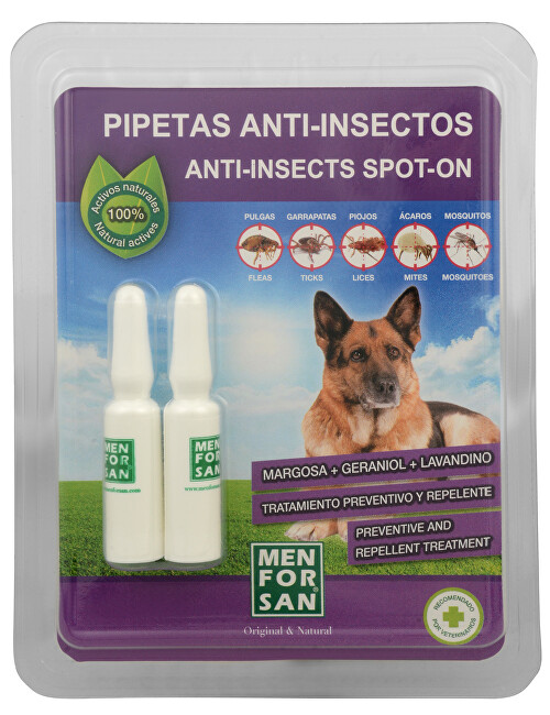 Menforsan Antiparazitné pipety pre psov (100% Natural Repellent Anti-parasite Spot on for Dogs) 2 x 1,5 ml