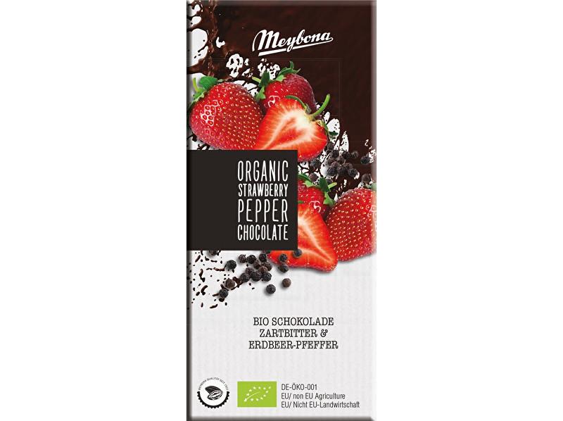 Meybona Bio Čokoláda hořká s jahodovými plátky a pepřem 52% 100g