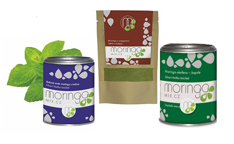 Dárkové balení Bylinná směs moringy s mátou 100 g + Moringa s oregánem 30 g + Moringa oleifera 180 kapslí