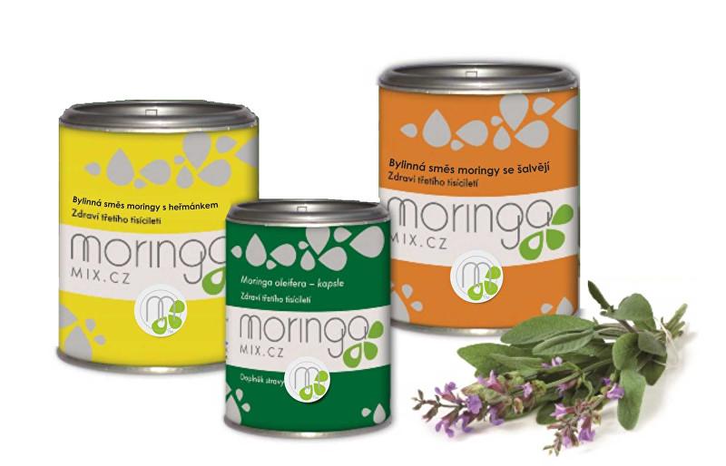 Bylinná směs moringy s heřmánkem 100 g + Moringa oleifera 180 kapslí + Bylinná směs moringy se šalvějí 100 g