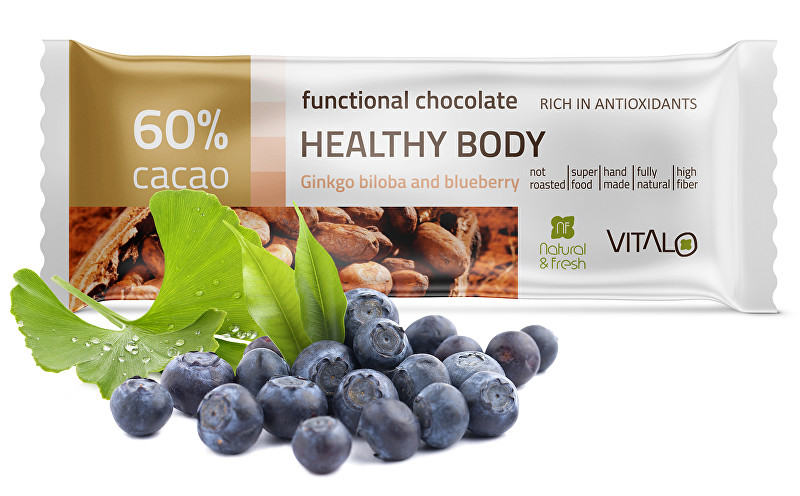 Funkční čokoláda Healthy Body - Gingo Biloba and blueberry 25g