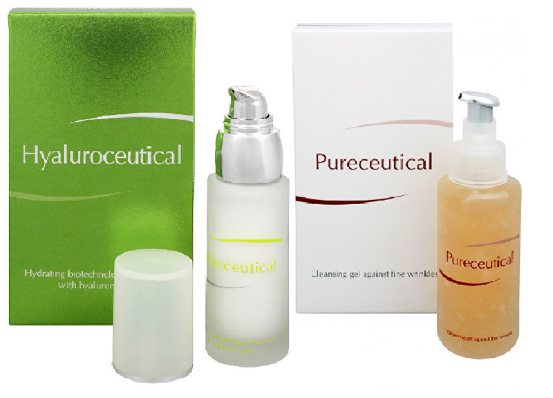 Hyaluroceutical - hydratační biotechnologická emulze 30 ml + Pureceutical - čistící gel proti jemným vráskám 125 ml
