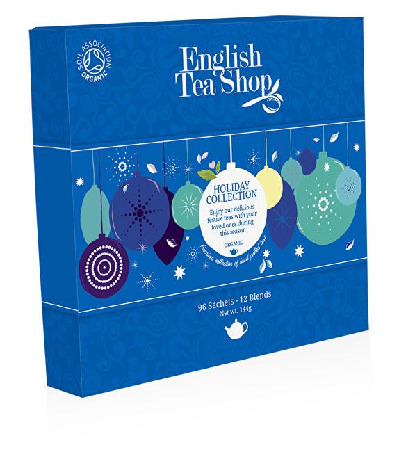 English Tea Shop Papírová kolekce 96 pyramidových sáčků - Kolekce vánoční zima Kolekce modré ozdoby