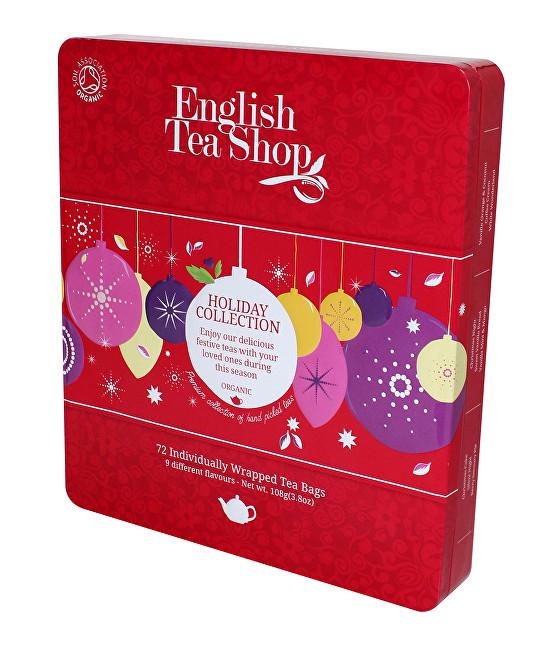 Zobrazit detail výrobku English Tea Shop Plechová kazeta 72 pyramidových sáčků - Červené ozdoby Červené ozdoby