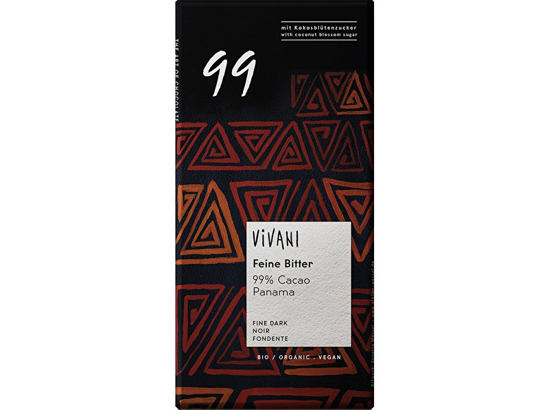Zobrazit detail výrobku VIVANI Bio hořká čokoláda 99% s kokosovým cukrem VIVANI 80 g