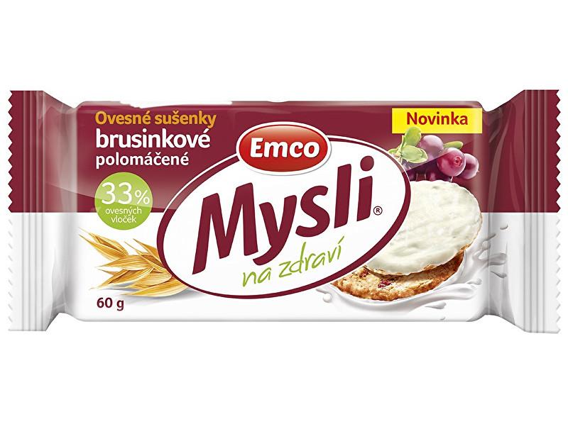 EMCO Mysli Ovesné sušenky brusinkové s jogurt.polevou 60g