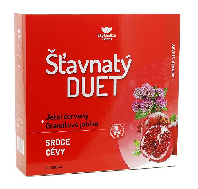 Šťavnatý duet červený jetel + granátové jablko 2 x 500 ml