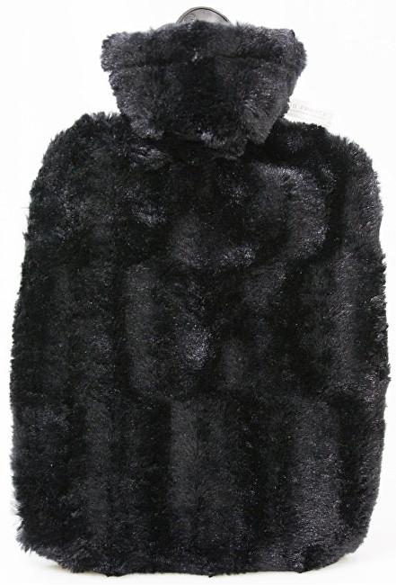 Termofor Classic s obalem z umělé kožešiny - černý s podšívkou