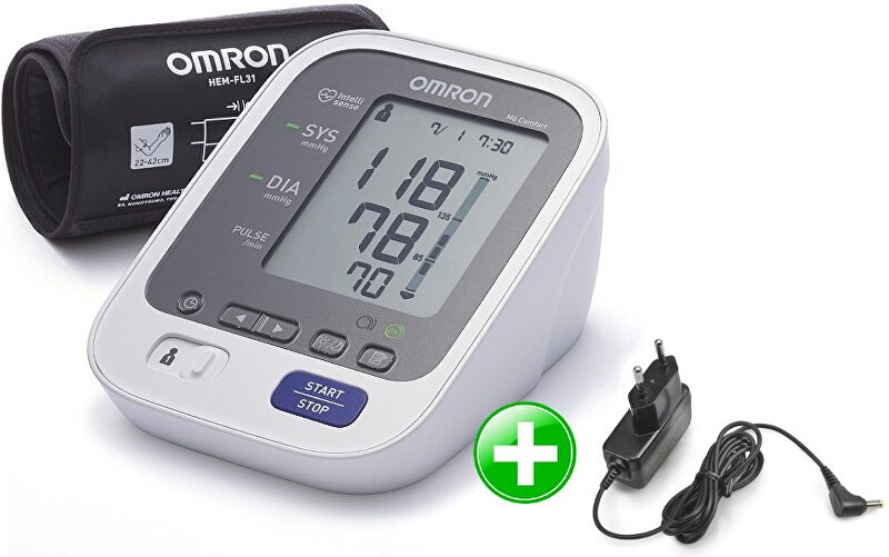 Omron Tonometr M6 Comfort s Intelli manžetou + zdroj