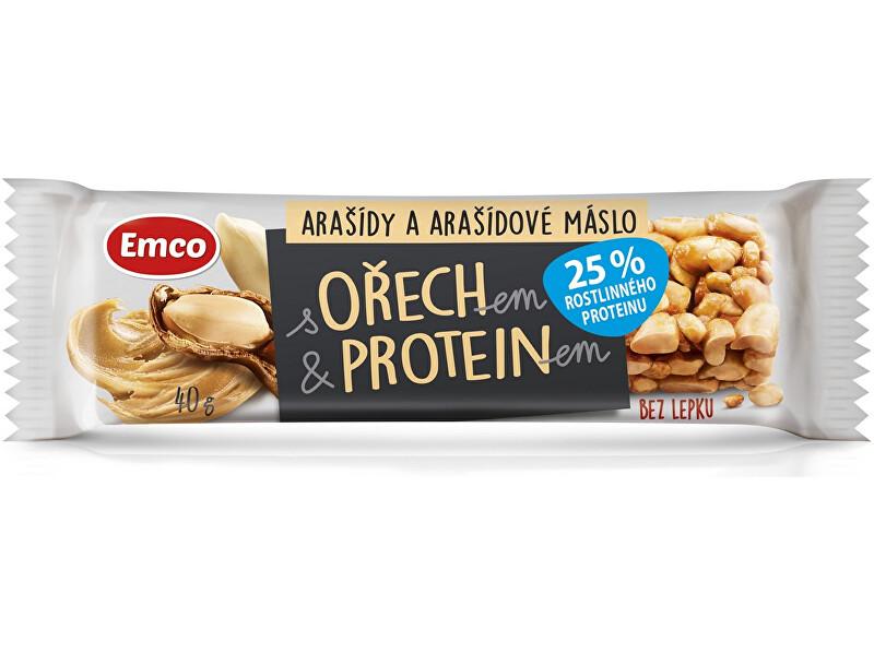 Zobrazit detail výrobku EMCO Tyčinka s ořechem a proteinem - arašídy a arašídové máslo 40g