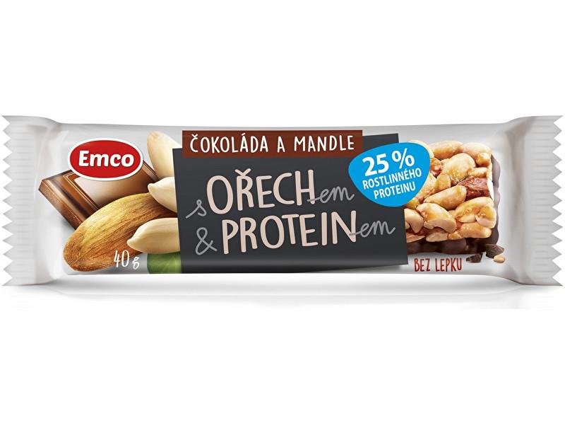 EMCO Tyčinka s ořechem a proteinem - čokoláda a mandle 40g