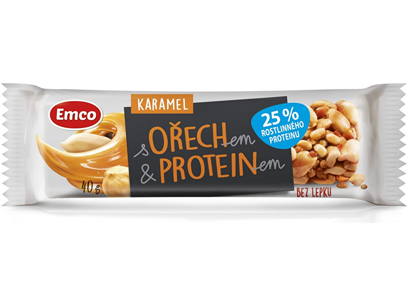 Zobrazit detail výrobku EMCO Tyčinka s ořechem a proteinem - karamel 40g