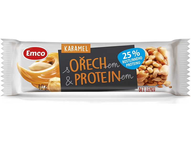 EMCO Tyčinka s ořechem a proteinem - karamel 40g