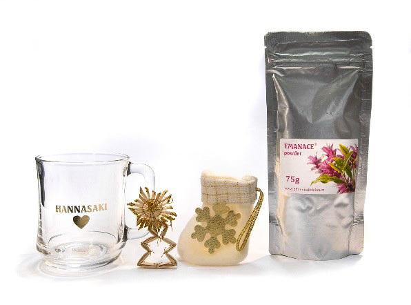 Zobrazit detail výrobku Phoenix Division Vánoční balíček čajová směs EMANACE powder 75 g a hrníček Hannasaki