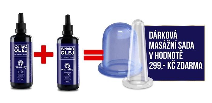 Zobrazit detail výrobku Renovality CelluO olej s pipetkou Renovality 100ml + WrinkO olej s pipetkou Renovality 100ml + dárková masážní sada ZDARMA