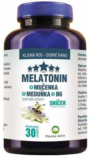Pharma Activ Melatonin Mučenka Meduňka B6 30 tablet