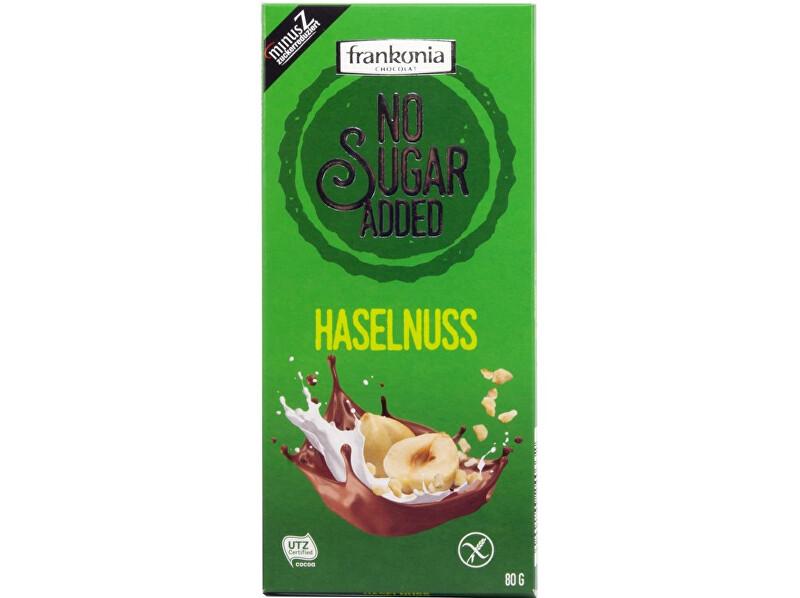 Zobrazit detail výrobku FRANKONIA Mléčná čokoláda s lískovými oříšky bez přidaného cukru 80g