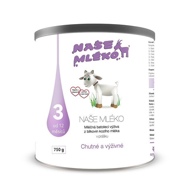 Zobrazit detail výrobku Goldim Naše mléko 3 (12 m+) 750 g