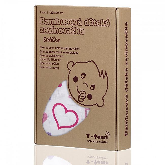 Zobrazit detail výrobku T-tomi Bambusová zavinovačka 120 x 120 cm Hearts / srdíčka