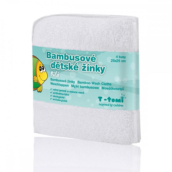 T-tomi Bambusové koupací žínky 25 x 25 cm 4 ks White / bílá