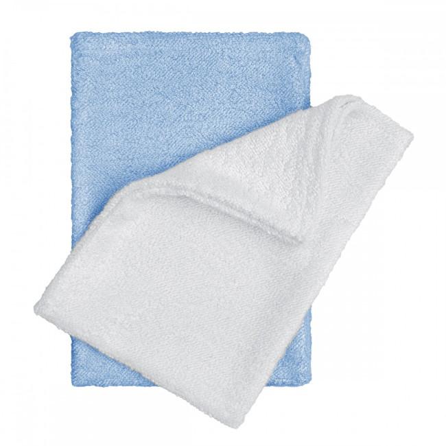 T-tomi Bambusové koupací žínky rukavice 14 x 20 cm 2 ks white+blue / bílá + modrá
