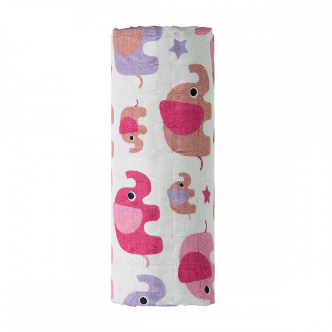 T-tomi BIO Bambusová osuška s potiskem 80 x 100 cm Pink elephants / růžoví sloni
