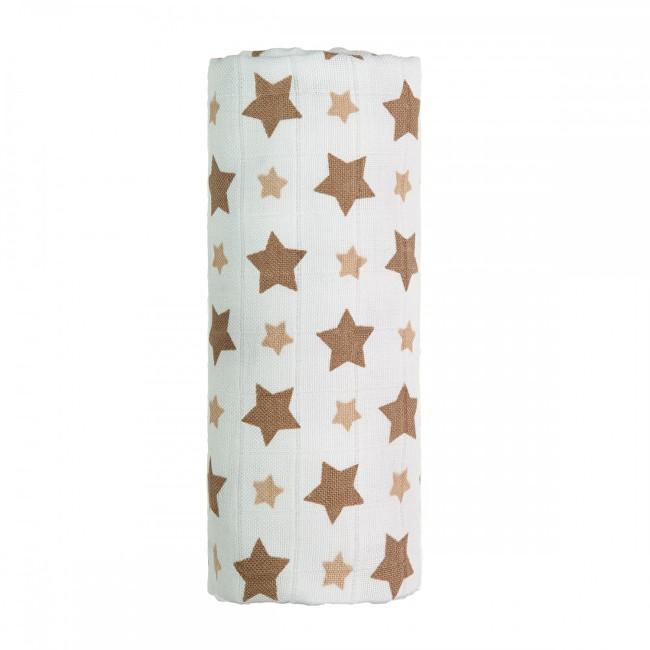 Zobrazit detail výrobku T-tomi BIO Bambusová osuška s potiskem 80 x 100 cm Beige stars / béžové hvězdičky