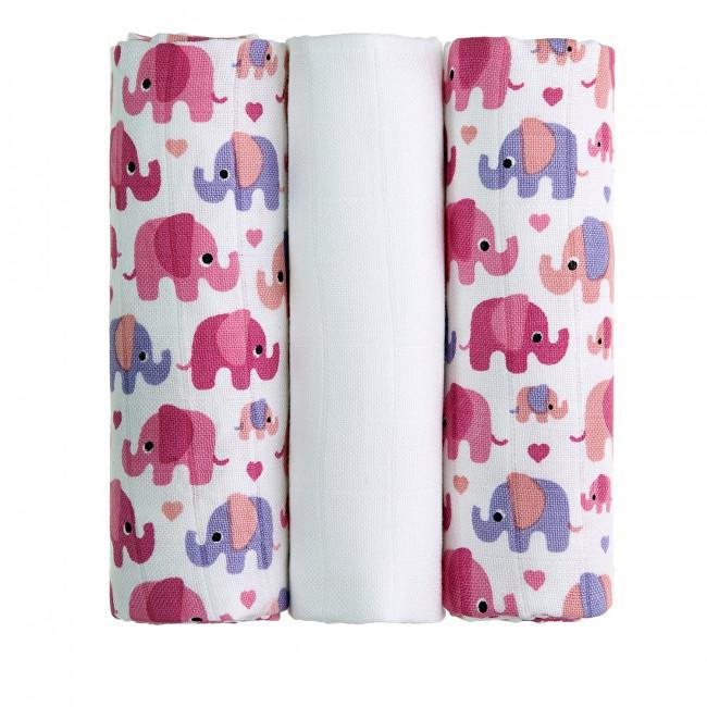 Zobrazit detail výrobku T-tomi BIO Bambusové pleny 70 x 70 cm 3 ks Pink elephants / růžoví sloni