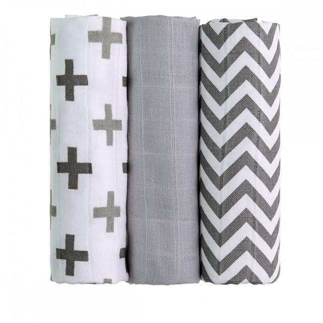Zobrazit detail výrobku T-tomi BIO Bambusové pleny 70 x 70 cm 3 ks Grey roofs / šedé stříšky
