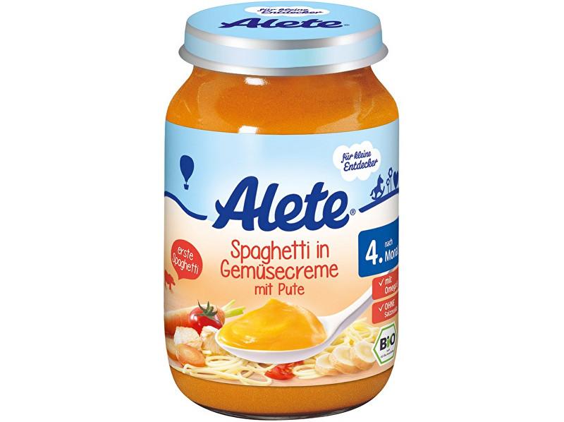 Alete Bio příkrm - špagety se zeleninovou omáčkou a krůtím masem 190g