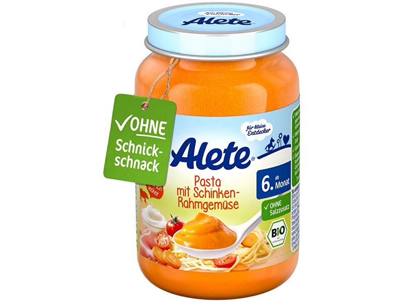 Zobrazit detail výrobku Alete Bio příkrm - zelenina s těstovinami a vepřovou šunkou z kýty a plece 190g