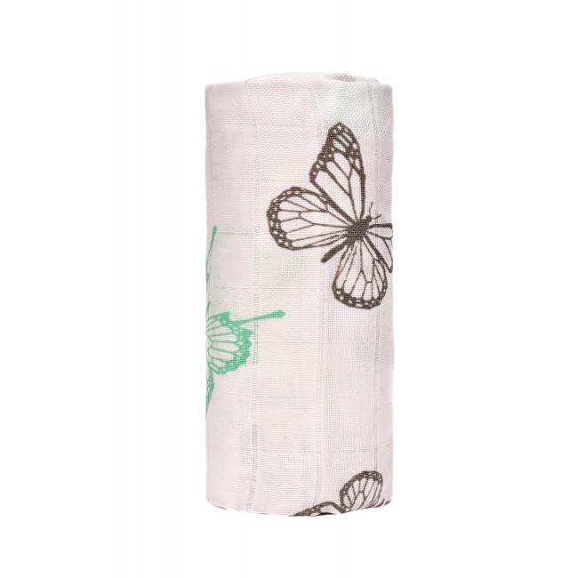 Zobrazit detail výrobku T-tomi BIO Velká bambusová osuška 120 x 120 cm Butterflies / motýlci