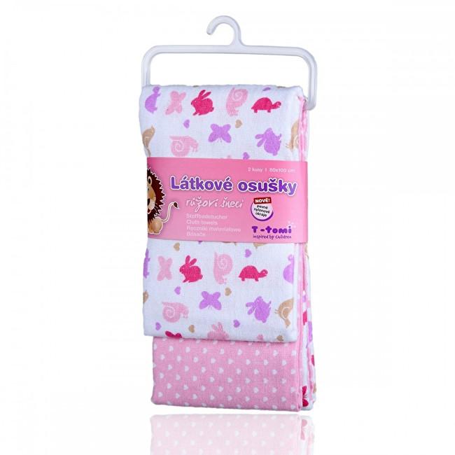 Zobrazit detail výrobku T-tomi Látkové osušky 80 x 100 cm 2 ks Pink snails / růžoví šneci