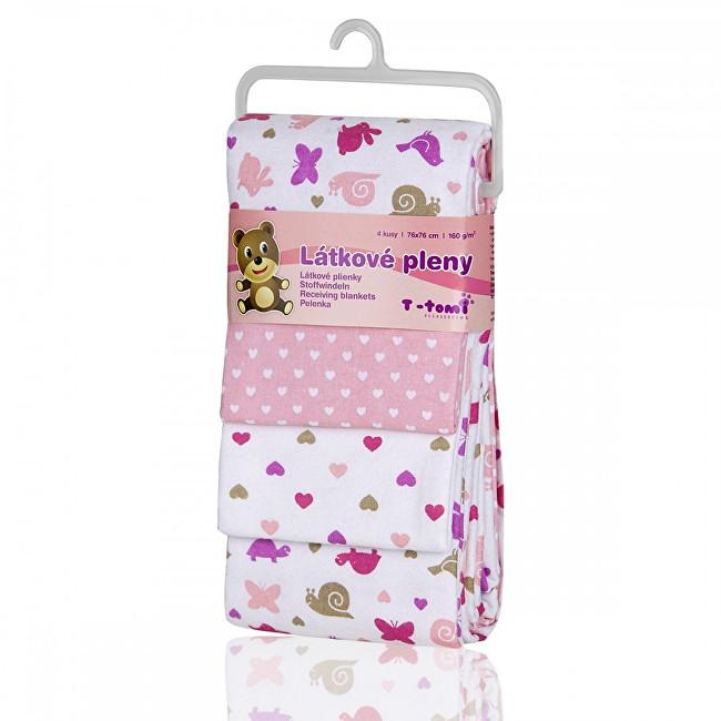 Zobrazit detail výrobku T-tomi Látkové pleny 76 x 76 cm 4 ks Pink snails / růžoví šneci