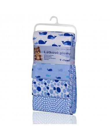 Zobrazit detail výrobku T-tomi Látkové pleny 76 x 76 cm 4 ks Blue whales / modré velryby