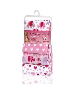 Zobrazit detail výrobku T-tomi Látkové pleny 76 x 76 cm 4 ks Pink elephants / růžoví sloni