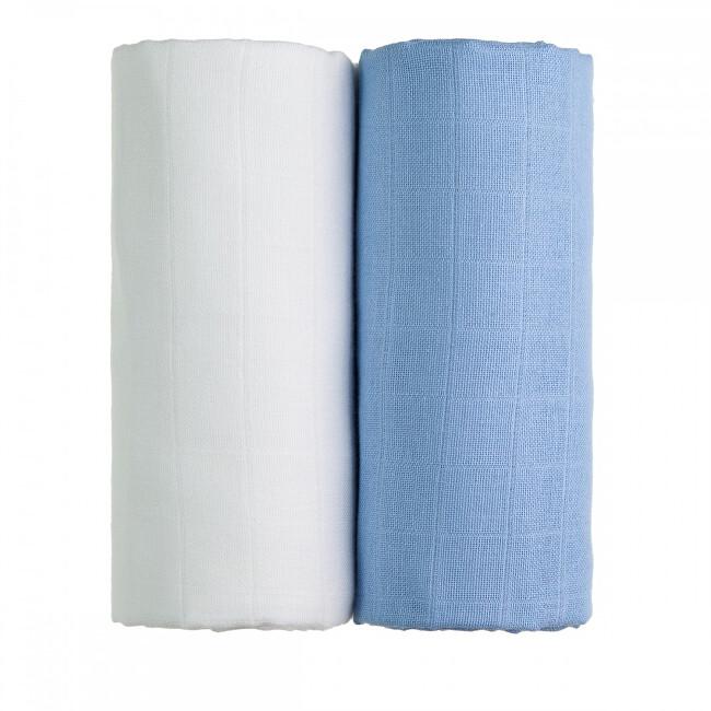 Zobrazit detail výrobku T-tomi Látkové TETRA osušky 90 x 100 cm 2 ks white + blue / bílá + modrá