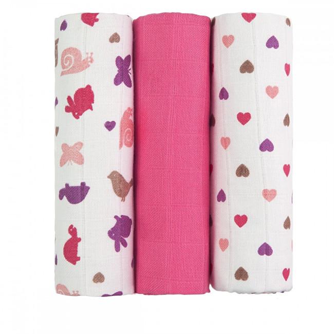 T-tomi Látkové TETRA pleny 70 x 70 cm 3 ks Pink snails / růžoví šneci