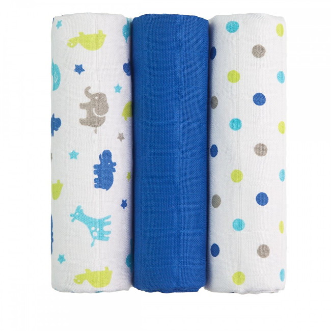 Zobrazit detail výrobku T-tomi Látkové TETRA pleny 70 x 70 cm 3 ks Blue giraffe / modré žirafy