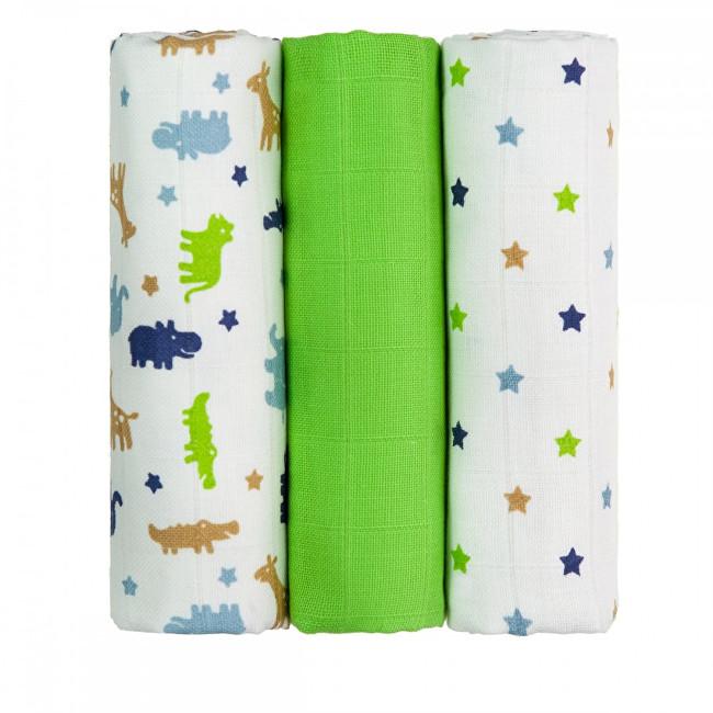 Zobrazit detail výrobku T-tomi Látkové TETRA pleny 70 x 70 cm 3 ks Green crocodiles / zelení krokodýli