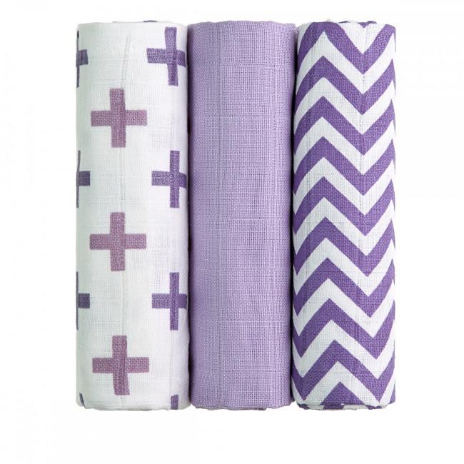 Zobrazit detail výrobku T-tomi Látkové TETRA pleny 70 x 70 cm 3 ks Lilac roofs / fialové stříšky
