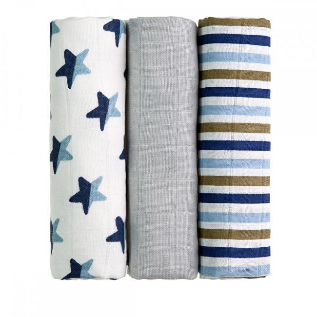 Zobrazit detail výrobku T-tomi Látkové TETRA pleny 70 x 70 cm 3 ks Blue stars / modré hvězdičky