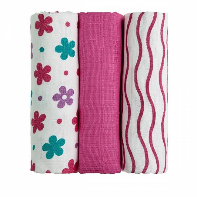 Zobrazit detail výrobku T-tomi Látkové TETRA pleny 70 x 70 cm 3 ks Pink flowers / růžové květiny