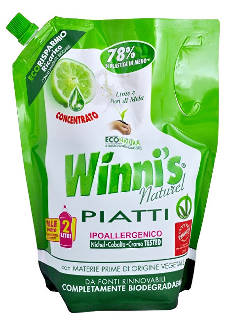 Zobrazit detail výrobku Winni´s Piatti Lime Ecoricarica koncentrovaný mycí prostředek na nádobí s vůní limetky - náhradní náplň 1000 ml