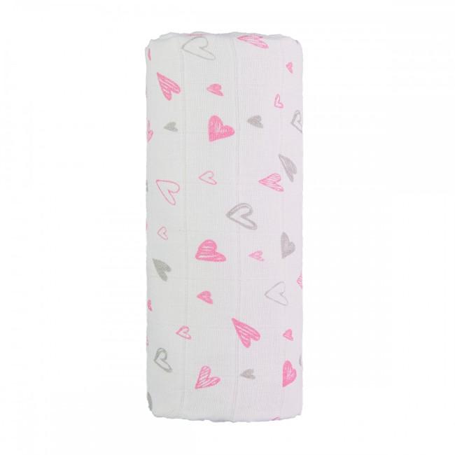 Zobrazit detail výrobku T-tomi Velká bavlněná TETRA osuška 120 x 120 cm Pink hearts / růžová srdíčka