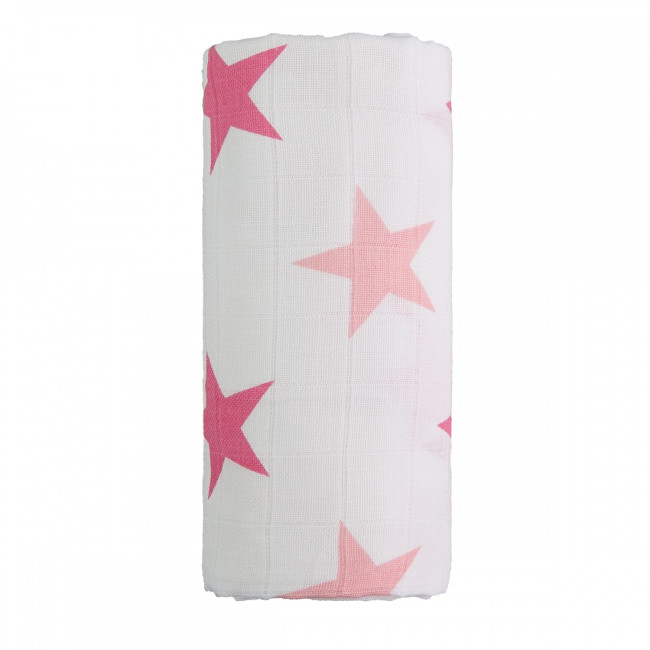 Zobrazit detail výrobku T-tomi Velká bavlněná TETRA osuška 120 x 120 cm Pink stars / růžové hvězdičky